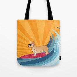 Surfing corgi Tote Bag