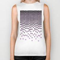 pixel Biker Tanks featuring Pixel Rain by Picomodi