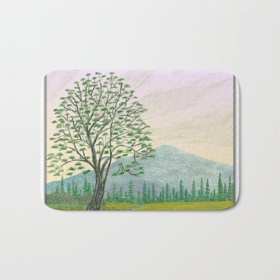 OREGON ASH TREE IN SPRINGTIME VINTAGE PENCIL COLOR DRAWING Bath Mat