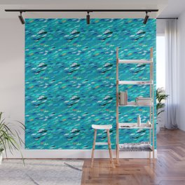 School of Fish, Shades of Turquoise and Aqua Wall Mural