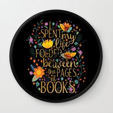 Folded Between the Pages of Books - Floral Black Wall Clock