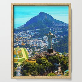 Beautiful Aerial view of Rio de Janeiro with Christ Redeemer and Corcovado Mountain - Brazil Serving Tray