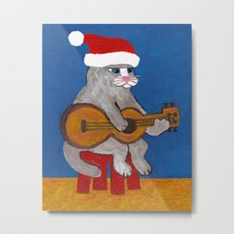 Christmas Cat Playing a Guitar and Wearing a Santa Hat Metal Print