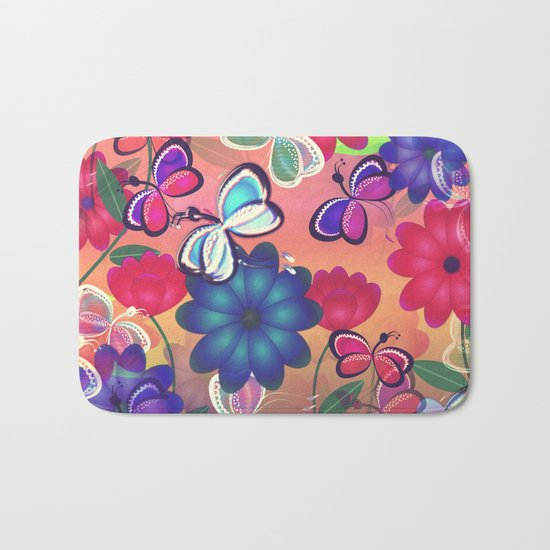 Abstract Butterflies with Flowers (Vintage Orange) Bath Mat
