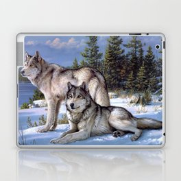 Two wolves in winter Siberian Laptop & iPad Skin