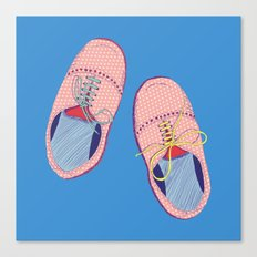 Polka dot shoes on blue Canvas Print