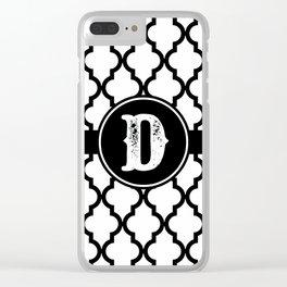 Black Monogram: Letter D Clear iPhone Case