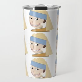 Smiling Girl with a Pearl Earring Travel Mug