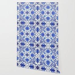 Art Nouveau Chinese Tile, Cobalt Blue & White Wallpaper
