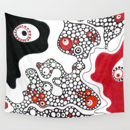 Black and white and red all over Wall Tapestry