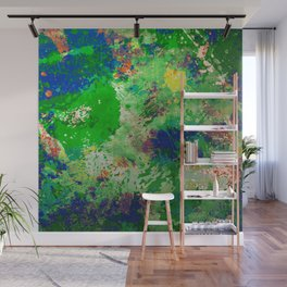 Spring Time Splatter - Abstract blue and green platter painting Wall Mural