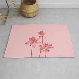 Three Lotos Flowers pink Design Rug