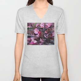 Abstract Pink Flowers Unisex V-Neck