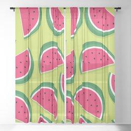 Juicy Watermelon Slices Sheer Curtain