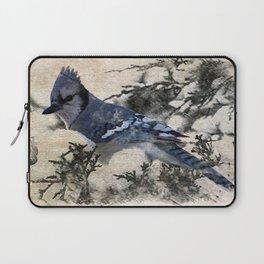 elegant christmas winter snow bird pine tree nature landscape blue jay Laptop Sleeve