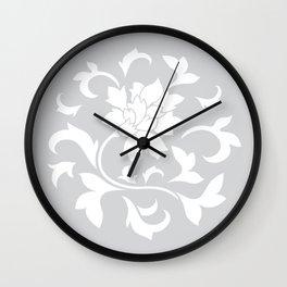 Oriental Flower - Silver Wall Clock