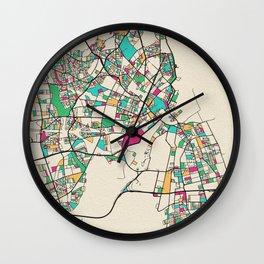 Colorful City Maps: Copenhagen, Denmark Wall Clock