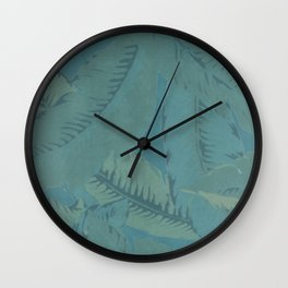 Faded Palms Pattern Wall Clock