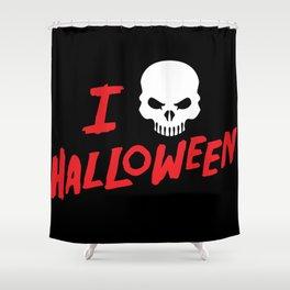 October 31st Fall Autumn Fun I Love Halloween Spooky Skull Shower Curtain