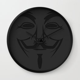 Minimalist Anonymous / Occupy / Guy Fawkes Mask  Wall Clock