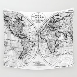 Black and White World Map (1795) Wall Tapestry