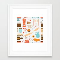 baking Framed Art Prints featuring baking pattern by olillia