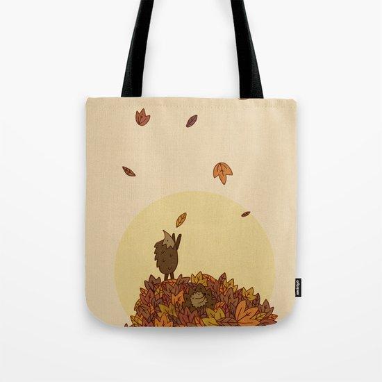 Autumn Hedgehogs Tote Bag