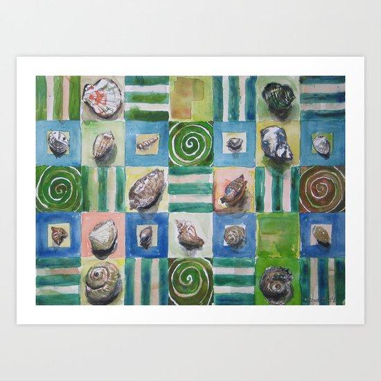 Shell and stripes Art Print