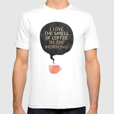 I love the smell of coffee in the morning LARGE Mens Fitted Tee White