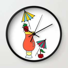 Fruity Cocktail Party  Wall Clock
