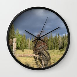 Barbed Wire Up in the White Mountains Arizona Wall Clock