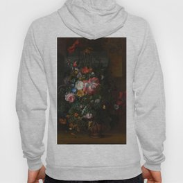 Rachel Ruysch - Roses, Convolvulus, Poppies and other flowers in an Urn on a Stone Ledge (1680) Hoody