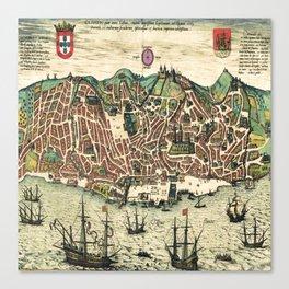 Lisbon map Canvas Print