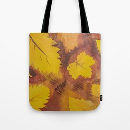 Yellow Autumn Leaf and a red pear painting Fall pattern inspired by nature colors Tote Bag