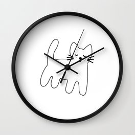 Black and white hand drawn cat Wall Clock