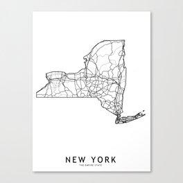 New York White Map Canvas Print