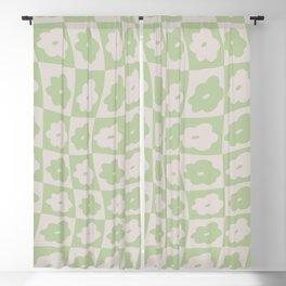 Retro Wavy Check Floral - Lilac + Sage Blackout Curtain