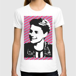 jace norman print art pink stripe T-shirt