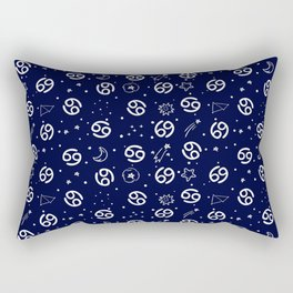 Blue And White Cancer zodiac hand drawn pattern Rectangular Pillow