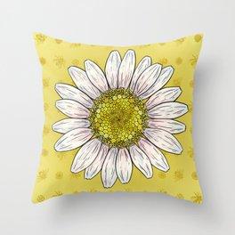 Shasta Daisy Bee Print Throw Pillow