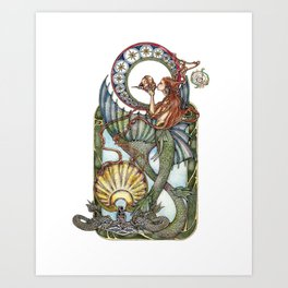 Maid of the Deep - With Silver Dolphins Art Print