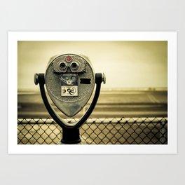 tourist retro coin operated binoculars on the beach in New York City Art Print