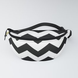 BLACK AND WHITE CHEVRON PATTERN - THICK LINED ZIG ZAG Fanny Pack