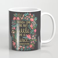 home Mugs featuring Little & Fierce on Charcoal by Cat Coquillette