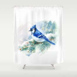 Watercolor Blue Jay Shower Curtain