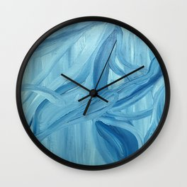 lines in blue Wall Clock