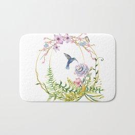 Glittering Golden Floral Hummingbird Terrarium Bath Mat
