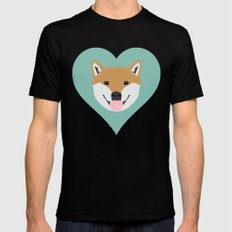 Shiba Love - Heart shiba inu funny dog for dog lovers pet gifts customizable dog meme dog person Black SMALL Mens Fitted Tee