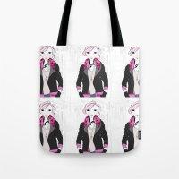 jenna kutcher Tote Bags featuring Fashionista (Jenna) by MelsArtShop