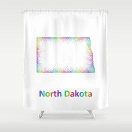 Rainbow North Dakota map Shower Curtain